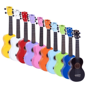 Multi-coloured Ukuleles in a row
